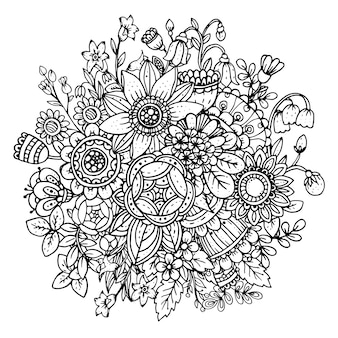 아름다운 흑백 꽃 꽃다발
