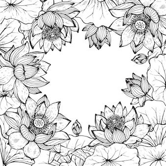 蓮の美しい白黒花のフレーム