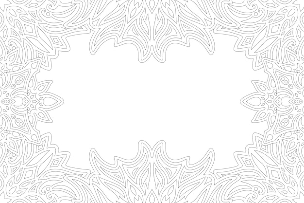 Beautiful monochrome illustration for adult coloring book page with abstract vintage border and white copy space