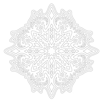 Beautiful monochrome illustration for adult coloring book with linear geometric pattern isolated on the white background