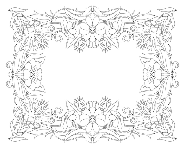 Beautiful monochrome illustration for coloring book page with cartoon floral frame and white copy space
