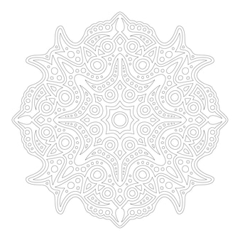 흰색 배경에 고립 된 추상 동부 만다라와 성인 색칠하기 책 페이지에 대한 아름다운 단색 그림