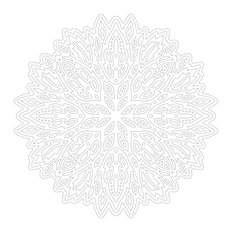 白い背景で隔離の抽象的な丸い線形パターンで本のページを着色するための美しいモノクロイラスト