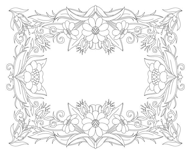 漫画の花のフレームと白いコピースペースで本のページを着色するための美しいモノクロイラスト