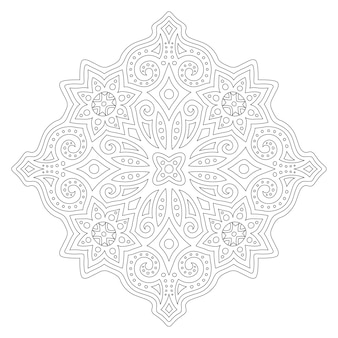 Красивая монохромная иллюстрация для раскраски страницы книги с линейным абстрактным восточным узором на белом