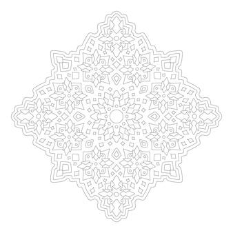 Красивая монохромная иллюстрация для раскраски страницы книги с линейным абстрактным племенным узором на белом