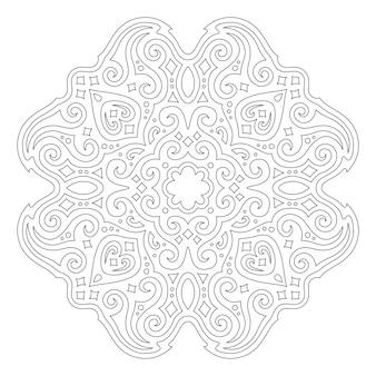Красивая монохромная иллюстрация для раскраски страницы книги с линейным абстрактным старинным узором, изолированным на белом фоне