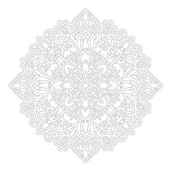 Красивая монохромная иллюстрация для раскраски страницы книги с круглым линейным цветочным узором, изолированным на белом фоне