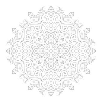 Красивая монохромная иллюстрация для раскраски страницы книги со звездным линейным узором, изолированным на белом фоне