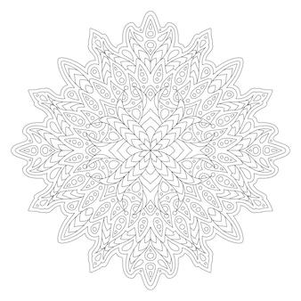抽象的な線形パターンで本を着色するための美しいモノクロイラスト