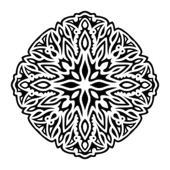 抽象的な黒いパターンと美しいモノクロイラスト