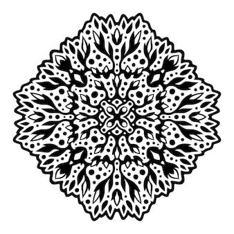 白い背景で隔離花の部族の黒いパターンと美しいモノクロイラスト