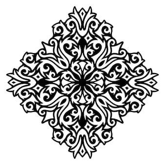 白い背景で隔離の単一の抽象的なヴィンテージ黒と美しいモノクロイラスト