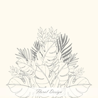 Beautiful monochrome leaves background template