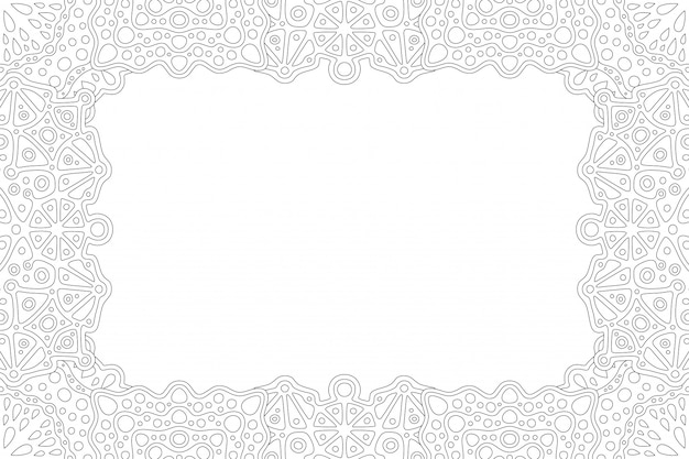 Beautiful monochrome linear illustration for adult coloring book page with abstract rectangle border and white copy space