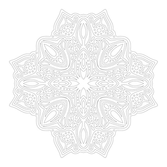 Beautiful monochrome linear illustration for adult coloring book page with abstract single pattern isolated on the white background