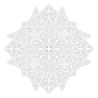 Beautiful monochrome linear illustration for coloring book page with abstract floral pattern isolated on the white background