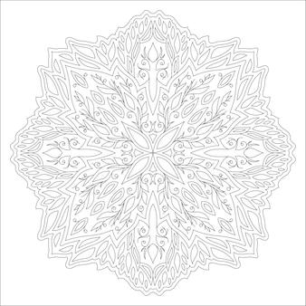 Красивая монохромная линейная иллюстрация раскраски страницы книги с абстрактным цветочным узором