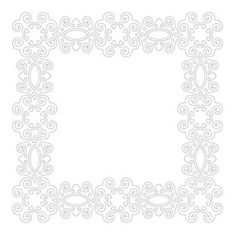 Красивая монохромная линейная иллюстрация раскраски страницы книги с квадратной винтажной рамкой