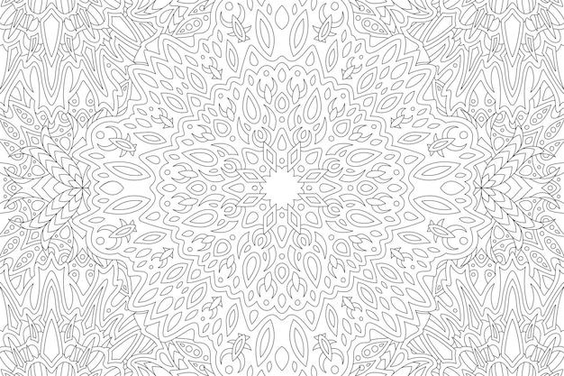 抽象的なヴィンテージ部族パターンと美しいモノクロ線形イラストぬりえ