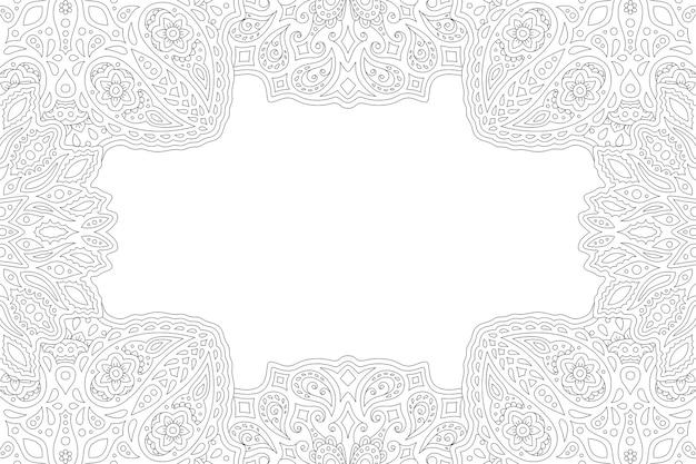 長方形の大人の塗り絵ページの美しいモノクロ線形イラスト