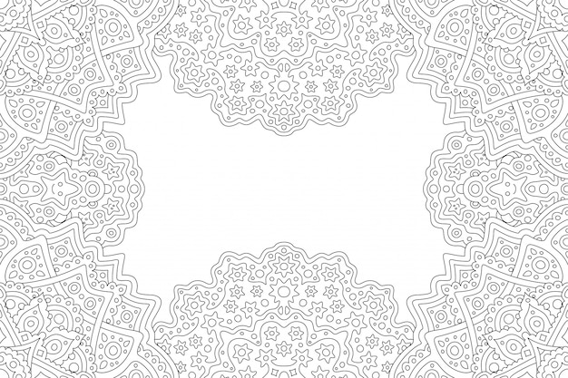 Красивая монохромная линейная иллюстрация для взрослых книжка-раскраска с абстрактной фэнтезийной рамкой прямоугольника и белым пространством для копирования