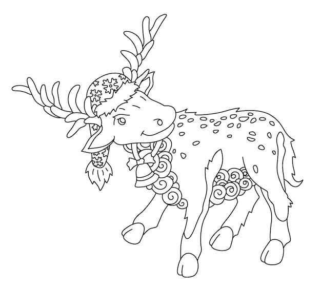漫画の鹿とクリスマスの塗り絵の美しいモノクロ線形イラスト