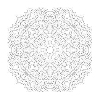 Красивая монохромная линейная иллюстрация для раскраски страницы книги с абстрактным рисунком, изолированным на белом фоне