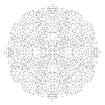 흰색 배경에 고립 된 추상 빈티지 패턴으로 책 페이지를 색칠하기위한 아름다운 단색 선형 그림
