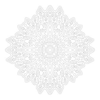 Красивая монохромная линейная иллюстрация для раскраски страницы книги с абстрактным старинным узором