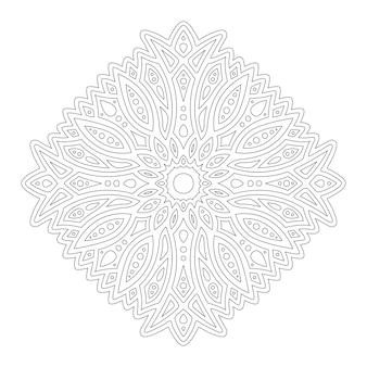 Красивая монохромная линейная иллюстрация для раскраски страницы книги с одним абстрактным, изолированным на белом фоне