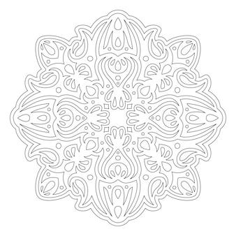 Красивая монохромная линейная иллюстрация для раскраски страницы книги с винтажным узором, изолированным на белом фоне
