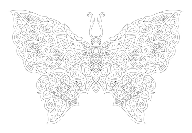 Beautiful monochrome linear vector illustration for coloring book page with stylized butterfly silhouette islated on the white background