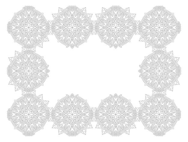 Красивые монохромные линейные векторные иллюстрации для взрослых раскраски страницы книги с абстрактной цветочной рамкой, изолированные на белом фоне