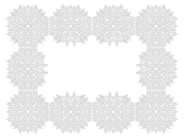 白い背景で隔離の抽象的な長方形の詳細なフレームと大人の塗り絵ページの美しいモノクロ線形ベクトルイラスト