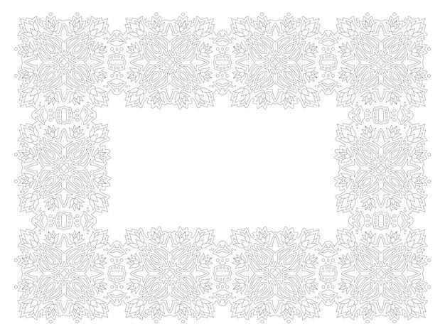 Красивые монохромные линейные векторные иллюстрации для взрослых раскраски страницы книги с абстрактной прямоугольной цветочной рамкой, изолированные на белом фоне