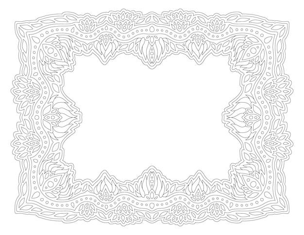 Красивые монохромные линейные векторные иллюстрации для взрослых раскраски страницы книги с абстрактной прямоугольной рамкой, изолированные на белом фоне