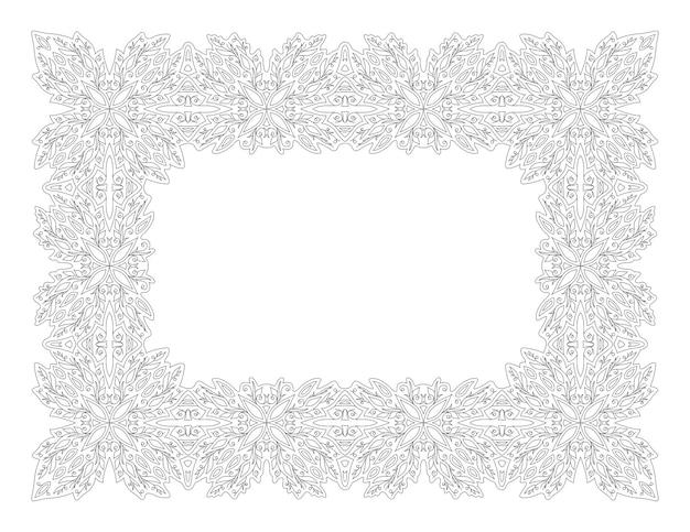 白い背景で隔離の抽象的な長方形のヴィンテージ花フレームと大人の塗り絵ページの美しいモノクロ線形ベクトルイラスト