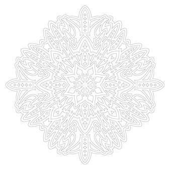 Красивые монохромные линейные векторные иллюстрации для взрослых раскраски страницы книги с абстрактным звездным узором, изолированные на белом фоне