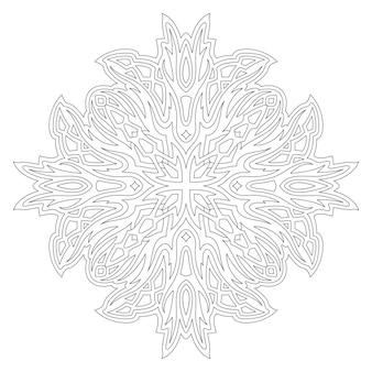 白い背景で隔離の抽象的な部族のパターンを持つ大人の塗り絵ページの美しいモノクロ線形ベクトルイラスト