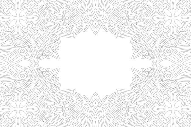 抽象的なヴィンテージの境界線と白いコピースペースを持つ大人の塗り絵ページの美しいモノクロ線形ベクトルイラスト