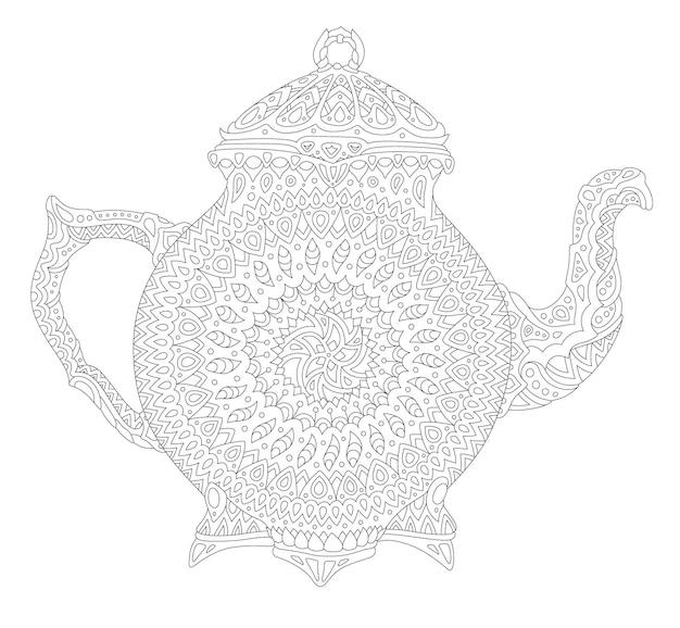 Красивые монохромные линейные векторные иллюстрации для взрослых раскраски страницы книги с декоративным чайником, изолированные на белом фоне