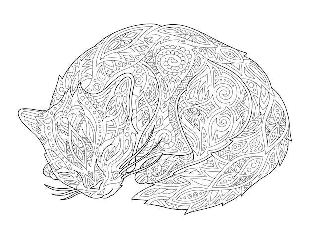 Красивые монохромные линейные векторные иллюстрации для взрослых раскраски страницы книги со стилизованным мультяшным спящим котом, изолированным на белом фоне