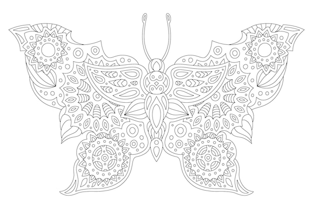 白い背景で隔離の定型化された蝶のシルエットで本のページを着色するための美しいモノクロ線形ベクトル図