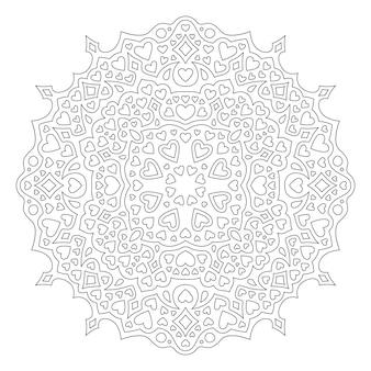 Красивые монохромные линейные векторные иллюстрации на день святого валентина, раскраски страницы книги с абстрактным круглым узором, изолированным на белом фоне
