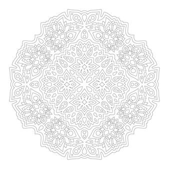 Красивая монохромная мандала для раскраски страницы книги с абстрактным цветочным узором