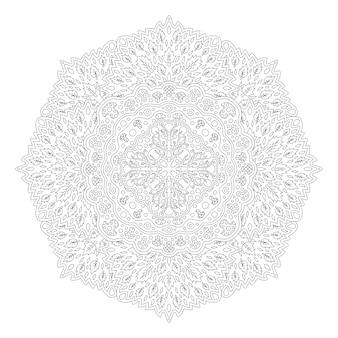 葉と白い背景の線形花柄に分離された大人の塗り絵の美しいモノクロ自然イラスト