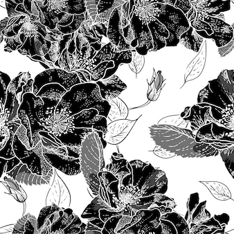 Beautiful monochrome seamless floral pattern