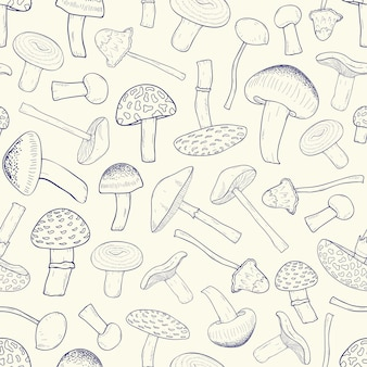 Beautiful monochrome seamless pattern with outlines of inedible forest mushrooms