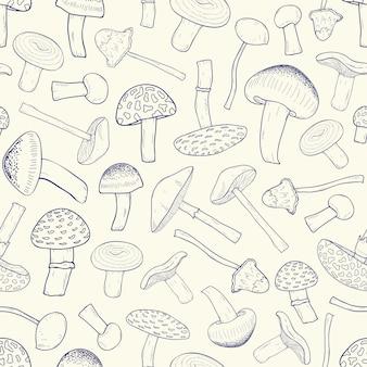 食べられない森のキノコの輪郭を持つ美しいモノクロのシームレスパターン